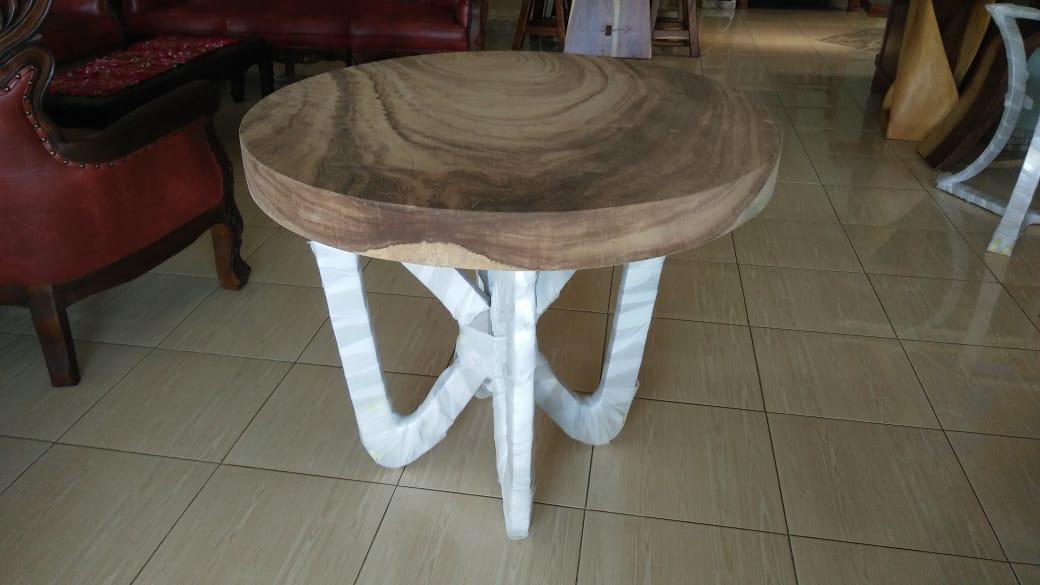 meja bundar antik kayu suar